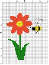 Beginner's Red Daisy Counted Cross Stitch Sewing Kit